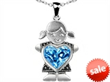 Star K™ Girl Holding 8mm Mother  Blue Topaz Heart December Birthstone Pendant