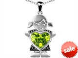 Original Star K™ Girl Holding 8mm Mother Heart August Birthstone Pendant with Genuine Peridot style: 303402
