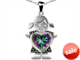 Original Star K™ Girl Holding 8mm Mother Heart Birthstone Pendant with Rainbow Mystic Topaz style: 303404