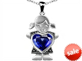Original Star K™ Girl Holding 8mm Mother Heart September Birthstone Pendant with Created Sapphire