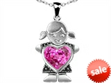 Original Star K™ Little Girl Holding 8mm Heart Mother Birthstone Pendant Created Pink Sapphire