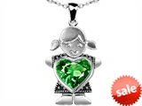 Original Star K™ Little Girl Holding 8mm Heart Mother Birthstone Pendant With Simulated Emerald