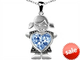 Original Star K™ Little Girl Holding 8mm Heart Mother Birthstone Pendant Simulated Aquamarine