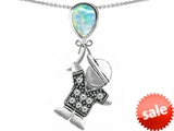 Original Star K™ Boy Holding a Balloon Mother October Birthstone Pear Shape Created Opal Pendant