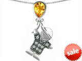 Original Star K™ Little Boy Holding a Balloon Mother Birthstone Simulated Citrine Pendant