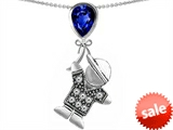 Original Star K™ Boy Holding a Balloon Mother September Birthstone Pear Shape Created Sapphire Pendant