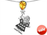Original Star K™ Girl Holding a Balloon Mother November Birthstone Pear Shape Genuine Citrine Pendant