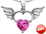 Original Star K™ Wings Of Love Birthstone Pendant with 8mm Heart Shape Created Pink Sapphire style: 303444
