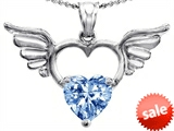 Original Star K™ Wings Of Love Birthstone Pendant with 8mm Heart Shape Simulated Aquamarine style: 303446
