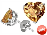 Original Star K™ 7mm Heart Shape Simulated Imperial Yellow Topaz Earrings Studs