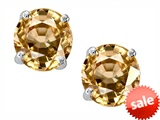 Original Star K™ Round 7mm Simulated Imperial Yellow Topaz Earrings Studs style: 303452