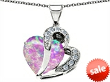 Original Star K™ Created Heart Shape 12mm Pink Opal Pendant
