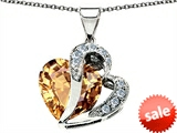 Original Star K™ Heart Shape 12mm Simulated Imperial Yellow Topaz Pendant