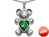 Original Star K™ Love Bear Holding Birthstone of May 8mm Heart Shape Simulated Emerald style: 303497