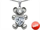Original Star K™ Love Bear Holding Birth Month of April 8mm Heart Shape White Topaz style: 303502