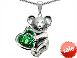 Original Star K™ Love Bear Hugging Birthstone of May 8mm Heart Shape Simulated Emerald style: 303515