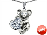 Original Star K™ Love Bear Hugging Birthstone of April 8mm Heart Shape Genuine White Topaz
