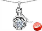 Original Star K™ Cat Lover Pendant with April Birthstone Genuine White Topaz style: 303536
