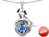 Original Star K™ Dog Lover Pendant with March Birthstone Round 7mm Simulated Aquamarine style: 303540