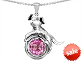 Original Star K™ Dog Lover Pendant with September Birthstone Round 7mm Created Pink Sapphire style: 303544
