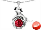 Original Star K™ Dog Lover Pendant with July Birth Month Round 7mm Created Ruby style: 303545