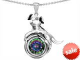 Original Star K™ Dog Lover Pendant with Round 7mm Mystic Rainbow Topaz