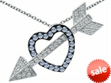 Original Star K™ Simulated Aquamarine Heart With Love Arrow Pendant style: 303574