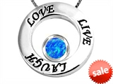 Original Star K™ Live/Love/Laugh Circle of Life Pendant with October Birthstone Round 7mm Created Blue Opal style: 303576