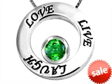 Original Star K™ Live/Love/Laugh Circle of Life Pendant with May Birthstone Round 7mm Simulated Emerald style: 303581