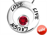 Original Star K™ Live/Love/Laugh Circle of Life Pendant with July Birthstone Round 7mm Created Ruby
