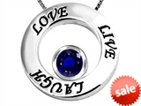Original Star K™ Live/Love/Laugh Circle of Life Pendant with September Birthstone Round 7mm Created Sapphire