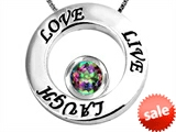 Original Star K™ Live/Love/Laugh Circle of Life Pendant with Round 7mm Mystic Rainbow Topaz style: 303585