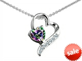 Original Star K™ 7mm Heart Shape Genuine Mystic Rainbow Topaz Heart Pendant