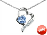 Original Star K™ 7mm Heart Shape Simulated Aquamarine Heart Pendant style: 303592
