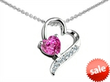 Original Star K™ 7mm Heart Shape Created Pink Sapphire Heart Pendant