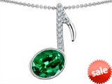Original Star K™ Musical Note Pendant With Simulated Emerald Oval 11x9 style: 303603