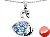 Original Star K™ Love Swan Pendant With 8mm Heart Shape Simulated Aquamarine style: 303609