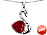 Original Star K™ Large Love Swan Pendant With 8mm Heart Shape Created Ruby.