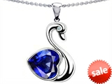 Original Star K™ Large Love Swan Pendant With 8mm Heart Shape Created Sapphire.