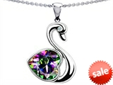 Original Star K™ 1 inch Love Swan Pendant With Genuine Heart Shape Mystic Topaz
