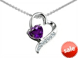 Original Star K™ 7mm Heart Shape Genuine  Amethyst Pendant style: 303616
