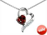 Original Star K™ 7mm Genuine Heart Shape Garnet Pendant style: 303617