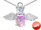 Original Star K™ Angel Of Love Protection Pendant With Oval 8x6mm Created Pink Opal style: 303627