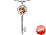 Original Star K™ Key To My Heart Love Pendant With 7mm Heart Shape Simulated Imperial Yellow Topaz