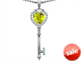 Original Star K™ Key To My Heart Love Pendant With 7mm Heart Shape Simulated Yellow Sapphire