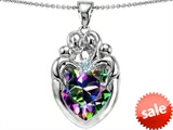 Original Star K™ Large Loving Mother Twins Family Pendant With 12mm Heart Mystic Rainbow Topaz style: 303675