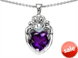 Original Star K™ Loving Mother And Family Pendant With Heart Shape Genuine Amethyst