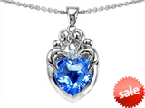 Original Star K™ Loving Mother Twins Family Pendant With Genuine 8mm Heart Blue Topaz