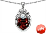 Original Star K™ Loving Mother Twins Family Pendant With 8mm Genuine Heart Garnet