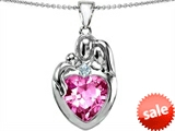 Original Star K™ Large Loving Mother Father With Child Family Pendant 12mm Heart Created Pink Sapphire style: 303686